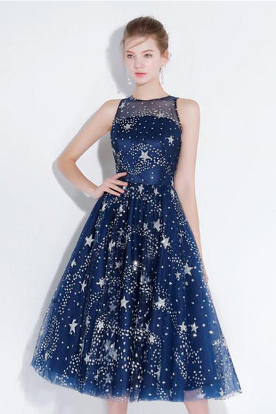 New Arrival Navy Blue Lace Homecoming Dresses Tea Length See Through Cheap Prom Party Dress LD1454