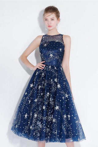 0e2b908f828 New Arrival Navy Blue Lace Homecoming Dresses Tea Length See Through Cheap  Prom Party Dress LD1454