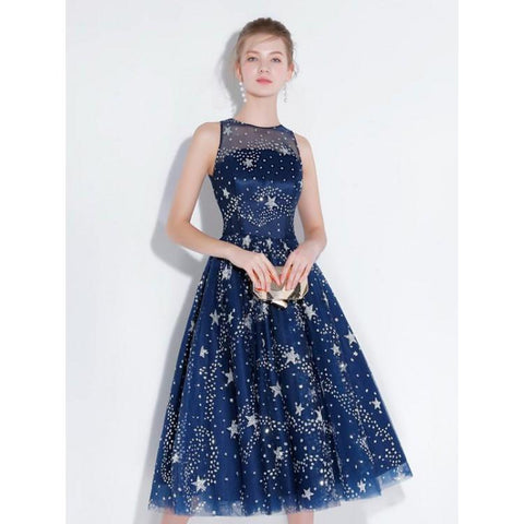 e43cdb36d92 ... New Arrival Navy Blue Lace Homecoming Dresses Tea Length See Through  Cheap Prom Party Dress LD1454 ...