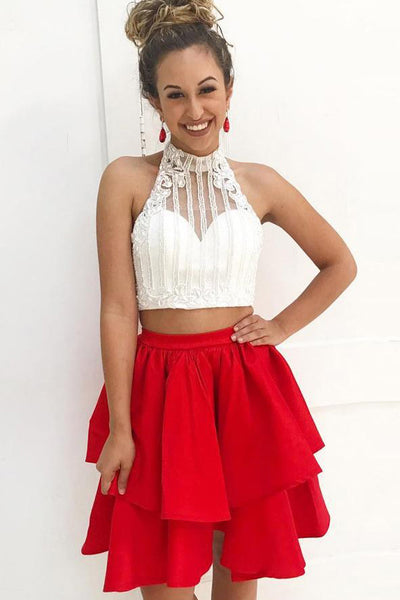 Sexy Two Pieces Homecoming Dresses Short White Red Beaded Open Back Prom Hoco Dress LD1455