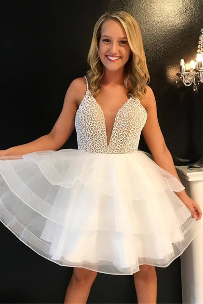 New White Homecoming Dresses Short V Neck Spaghetti Straps Tiered Pearls Prom Hoco Dress LD1456