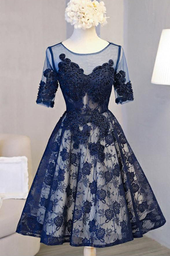 Chic Navy Blue Lace Homecoming Dresses Short Sleeves Knee Length Beaded Prom Hoco Dress LD1457