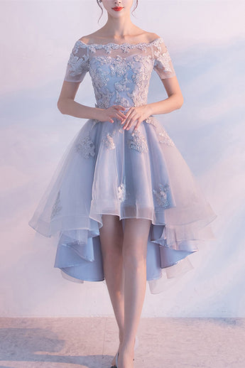 Sexy Short Sleeves Lace Appliques Homecoming Dresses Light Blue High Low Prom Hoco Dress LD1458