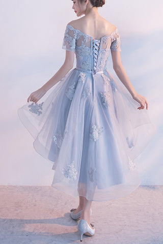 1a754396542 ... Sexy Short Sleeves Lace Appliques Homecoming Dresses Light Blue High  Low Prom Hoco Dress LD1458 ...