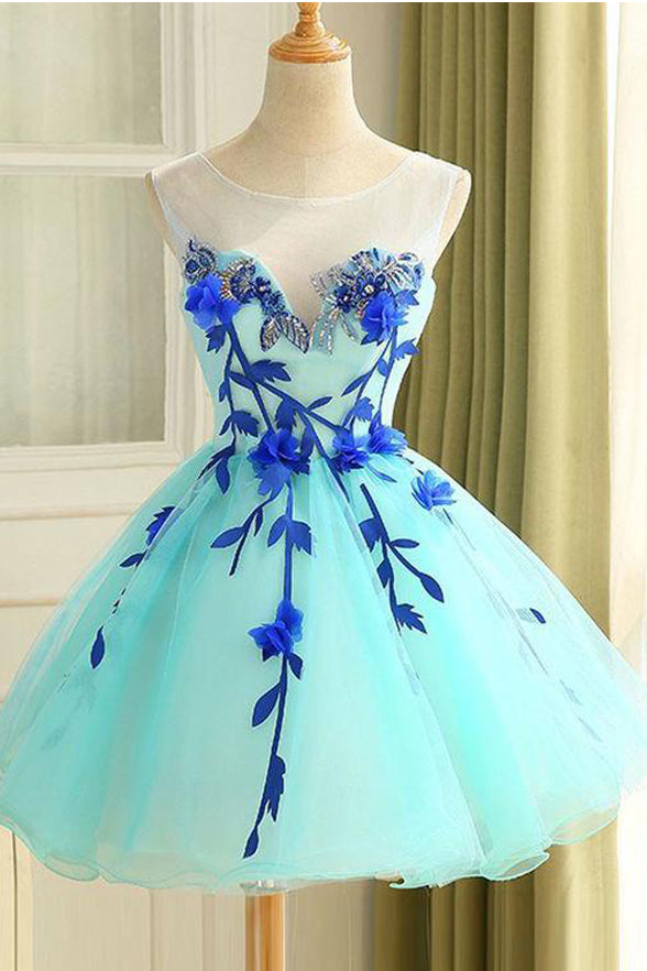Charming Appliques Mint Homecoming Dresses Mini Length Cute Gowns Cheap Prom Hoco Dress LD1459