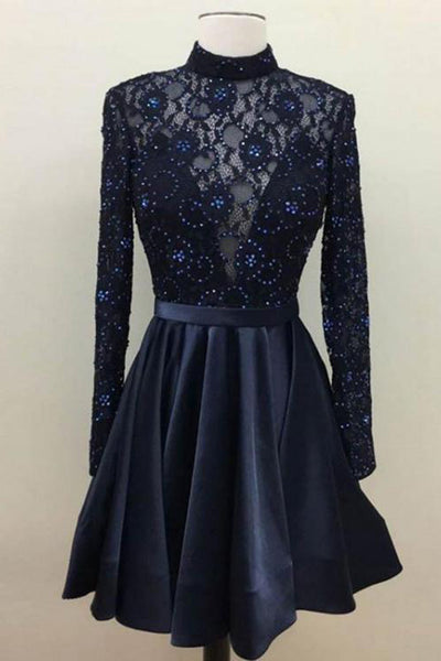 Real Picture Navy Blue Long Sleeves Homecoming Dresses Short High Neck Beaded Prom Dress LD1460
