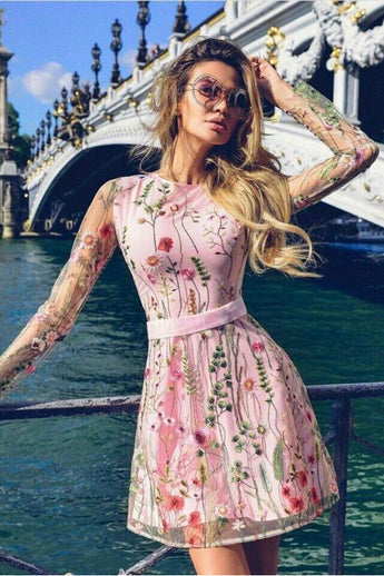 New Arrival Embroidery Lace Long Sleeves Homecoming Dresses Pink Short Prom Graduation Dress LD1461