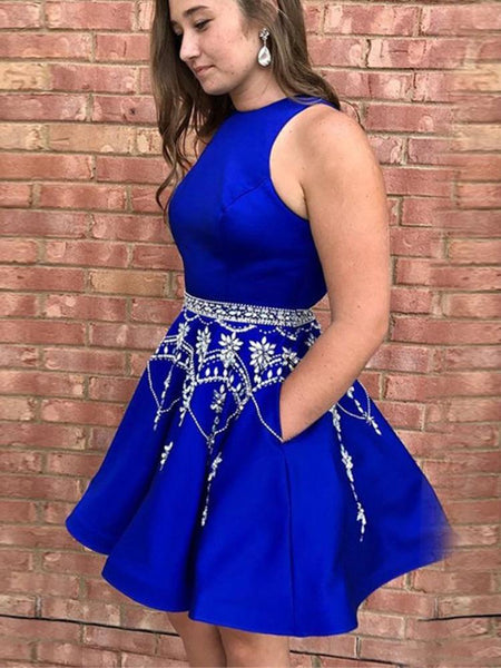 Fashion Royal Blue Mini Homecoming Dresses High Neck Beaded Prom Dress With Pocket LD1462