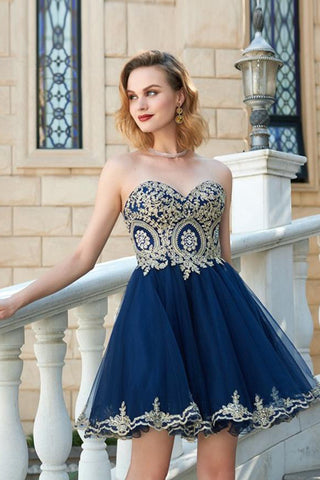 A Line Navy Blue Homecoming Dress Strapless Gold Lace Short Prom