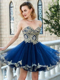 A Line Navy Blue Homecoming Dresses Strapless Gold Lace Short Prom Graduation Dress LD1463