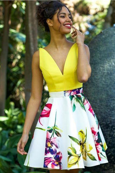 New Arrival Backless V Neck Printed Yellow Homecoming Dresses Short Prom Graduation Dress LD1464