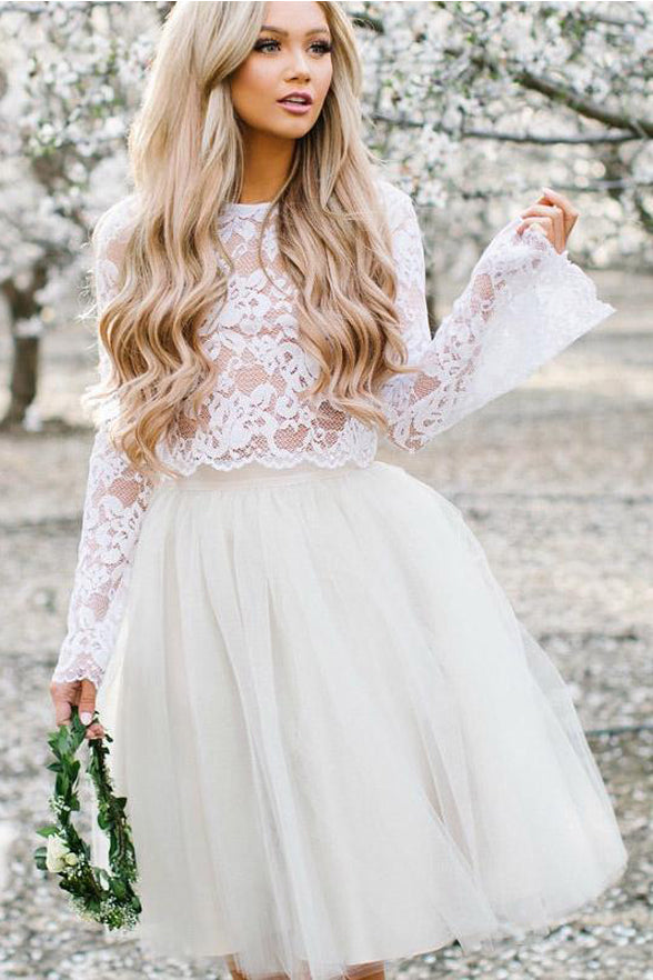 Princess White Lace Homecoming Dresses Two Pieces Long Sleeves Prom Party Dress LD1465