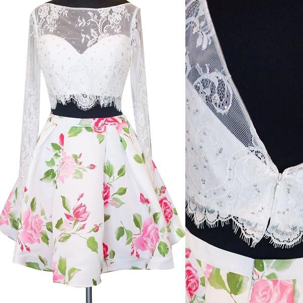 2 Piece White Lace Long Sleeves Homecoming Dresses Backless Printed Prom Graduation Dress LD1467