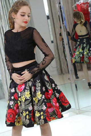Black Lace Two Piece Homecoming Dresses Open Back Long Sleeves Prom Graduation Dress LD1468
