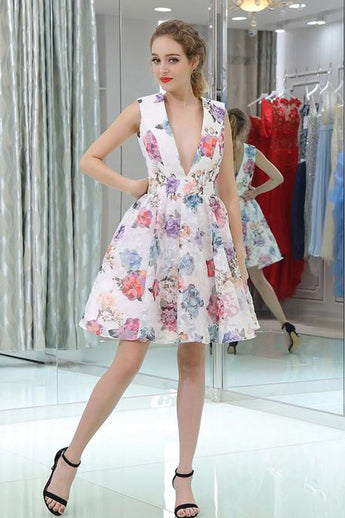 New Arrival Flower Printed V Neck Short Homecoming Dresses A Line Prom Graduation Dress LD1469