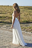 Open Back Ivory Lace Spaghetti Straps Long Beach Bridal Wedding Dress LD146