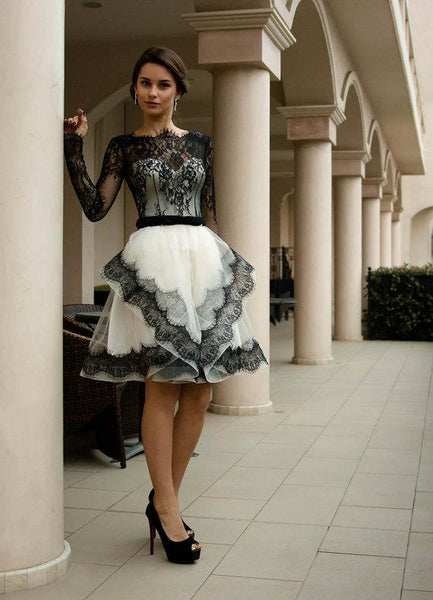 Black Lace Long Sleeves Homecoming Dresses High Low Short Prom Graduation Dress LD1470