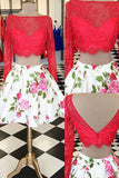 2 Piece Red Lace Homecoming Dresses Long Sleeves Backless Printed Prom Graduation Dress LD1471