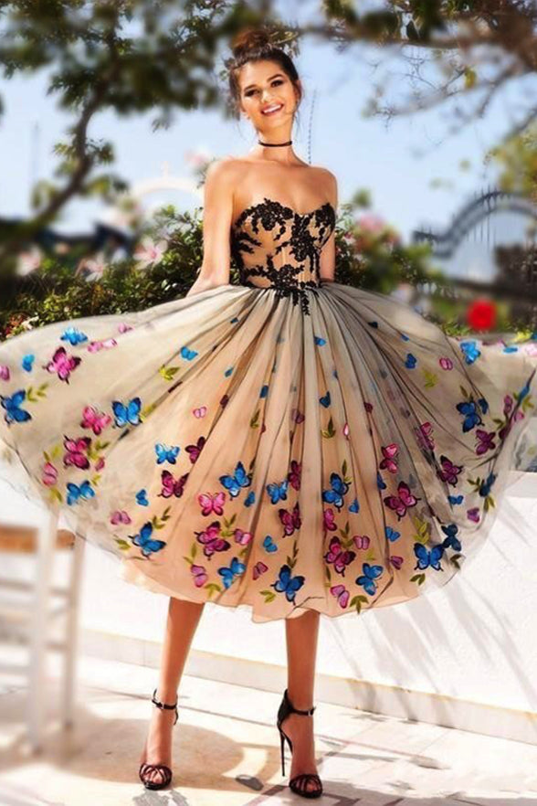 Charming A Line Strapless Butterfly Appliques Tea Length Homecoming Dresses Prom Dress LD1472