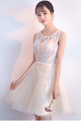 Charming A Line Lace Appliques Homecoming Dresses Tulle Short Prom Graduation Dress LD1473