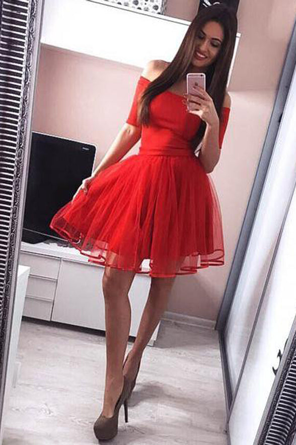 Off the Shoulder Red Homecoming Dresses Short Sleeves Cheap Prom Graduation Dress LD1477