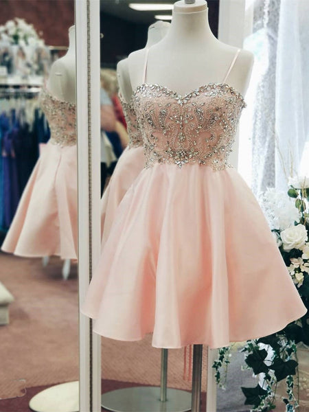A Line Spaghetti Straps Pink Beaded Homecoming Dress Shot Prom Graduation Dresses LD1478