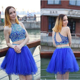 Sexy Two Pieces Royal Blue Beaded Backless Homecoming Dress Short Prom Hoco Dresses LD1480