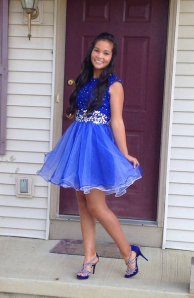 Princess A Line Royal Blue Beaded Homecoming Dresses Tulle Short Prom Graduation Dress LD1482