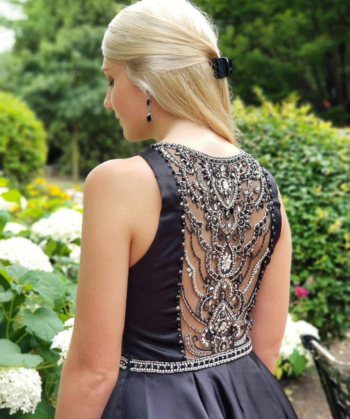 Charming Navy Blue Beaded See Through Homecoming Dress Shot Prom Hoco Dresses LD1483