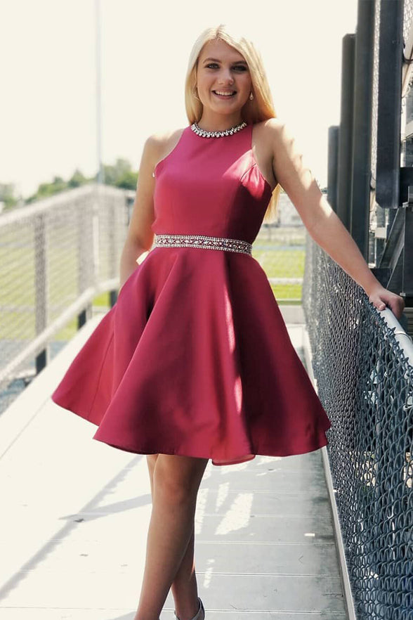 Chic Open Back High Neck Short Homecoming Dress Beaded Prom Graduation Dresses LD1484