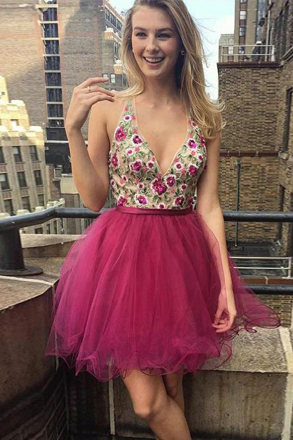 Hot Pink V Neck Embroidery Backless Homecoming Dresses Short Prom Graduation Dress LD1485