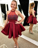 Chic Halter Open Back Burgundy Homecoming Dress Beaded Shot Prom Hoco Dresses LD1488