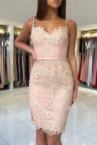 Sexy Spaghetti Straps Lace Pink Sheath Homecoming Dress Shot Prom Hoco Dresses LD1490