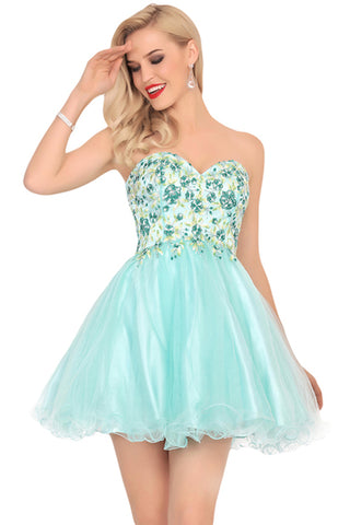 Chic A Line Strapless Mint Embroidery Homecoming Dresses Short Prom Graduation Dress LD1491