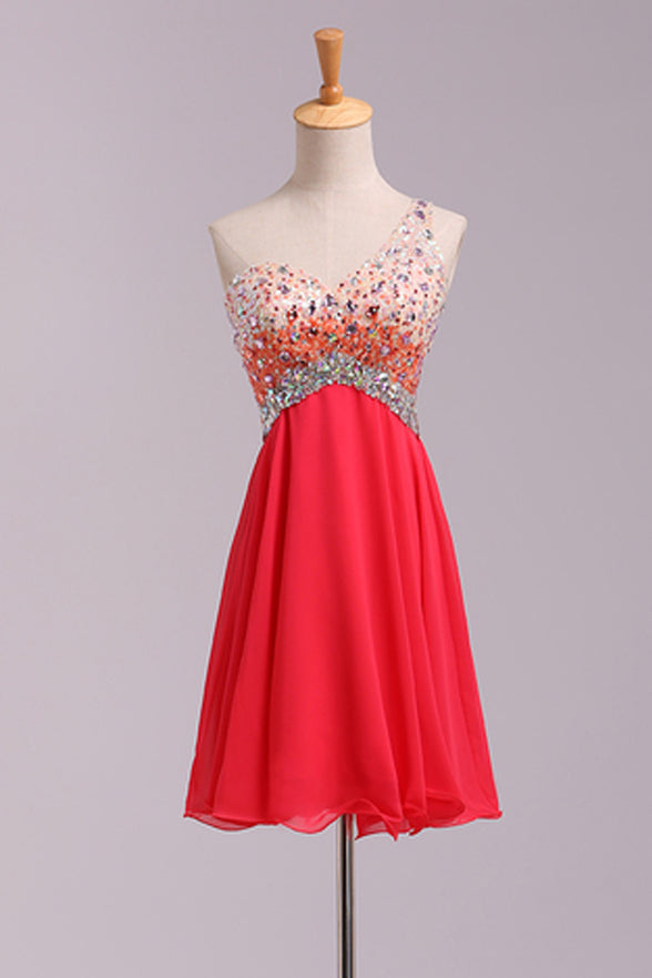 Empire Waist One Shoulder Coral Backless Plus Size Homecoming Dress Short  Prom Hoco Dresses LD1492 - US0 / Picture color