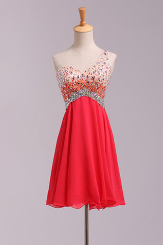 Empire Waist One Shoulder Coral Backless Plus Size Homecoming Dress Short Prom Hoco Dresses LD1492