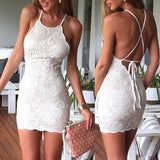 Chic Spaghetti Straps Open Back Ivory Lace Sheath Homecoming Dress Short Prom Hoco Dresses LD1494