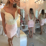 Sexy Open Back Sheath Mini Length Ivory Lace Pink Homecoming Dress Prom Hoco Dresses LD1497