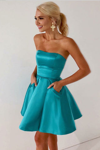 Simple Strapless Cheap Homecoming Dresses With Pocket Short Prom Garduation Dress LD1499
