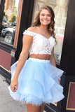 2 Piece White Lace Off the Shoulder Tiered Homecoming Dresses Short Prom Garduation Dress LD1502
