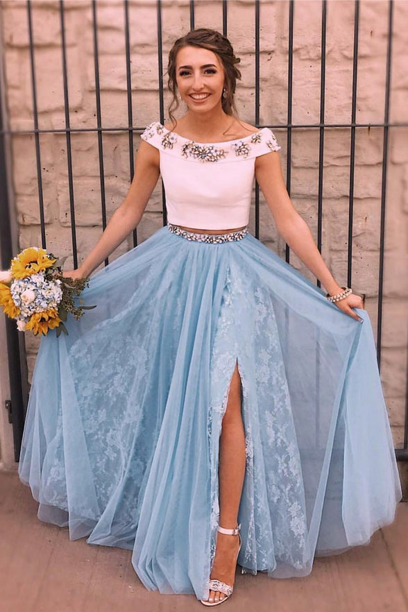 2 Pieces Off the Shoulder Blue Lace Beaded Split Sexy Prom Dresses Evening Dress Party Gown LD1511