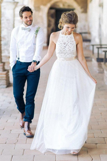 Backless Lace Wedding Dress with Bow