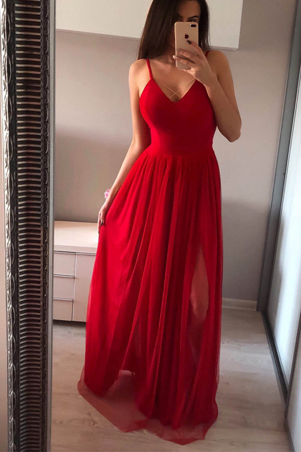 Elegant Spaghetti Straps V Neck Red Split Long Prom Dresses Evening Dress Party Gown LD1510