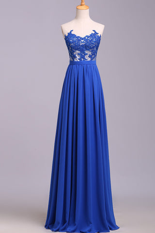 A Line Strapless Blue Lace Appliques Real Picture Long Prom Dresses Evening Dress Gowns LD1517