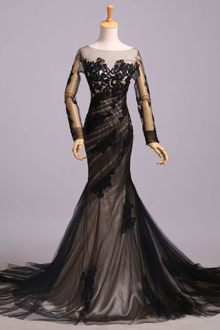Black Lace Appliques Long Sleeves Mermaid Backless Chic Prom Dresses Evening Dress Gowns LD1518