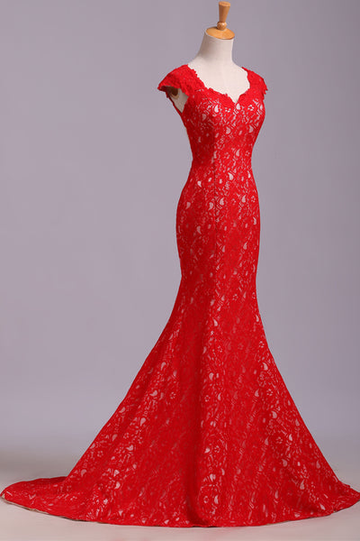 Fashion Open Back Red Lace Mermaid Cap Sleeves Prom Dresses Evening Dress Gowns LD1519