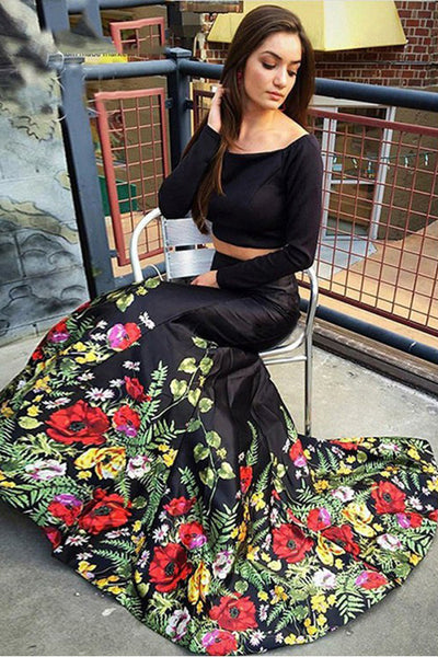 Sexy Two Piece Long Sleeves Black Off the Shoulder Mermaid Printed Prom Dresses Evening Dress LD1534
