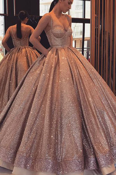 Shiny Sequin Spaghetti Straps Ball Gown Prom Dresses Evening Quinceanera Dress LD1537