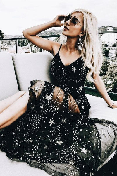 2019 New Sexy Spaghetti Straps V Neck Black Lace Prom Dresses Evening Formal Dress LD1539