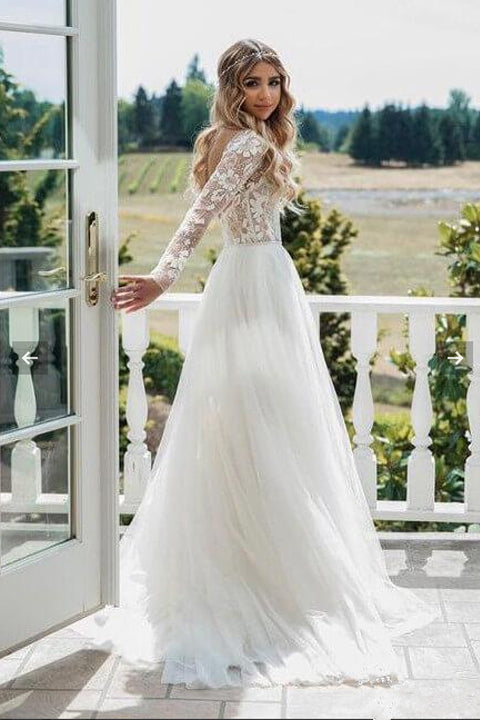 Charming Open Back Long Sleeves Lace Tulle See Through Wedding Dress Bridal Dresses Ld1541 Us0 Picture Color